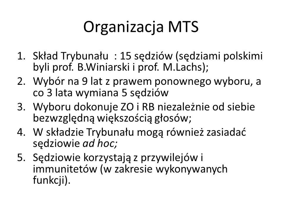 Organizacja MTS 1.Skład Trybunału : 15 sędziów (sędziami polskimi byli prof. B.Winiarski i prof. M.Lachs); 2.Wybór na 9 lat z prawem ponownego wyboru,