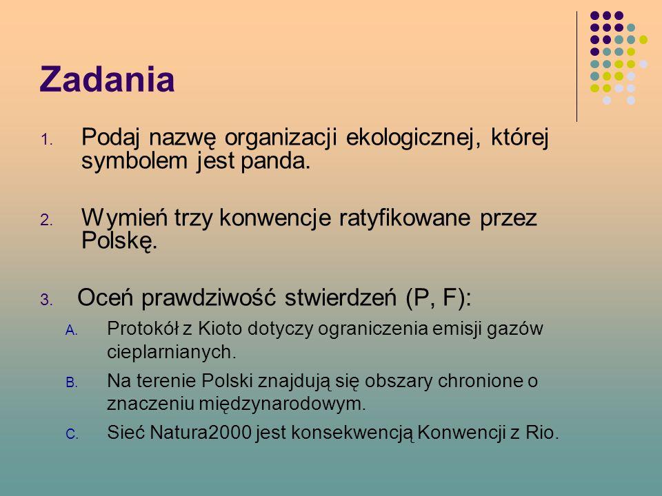 Zadania 1.Podaj nazwę organizacji ekologicznej, której symbolem jest panda.
