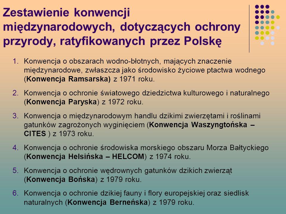Zestawienie konwencji międzynarodowych, dotyczących ochrony przyrody, ratyfikowanych przez Polskę 1.Konwencja o obszarach wodno-błotnych, mających znaczenie międzynarodowe, zwłaszcza jako środowisko życiowe ptactwa wodnego (Konwencja Ramsarska) z 1971 roku.