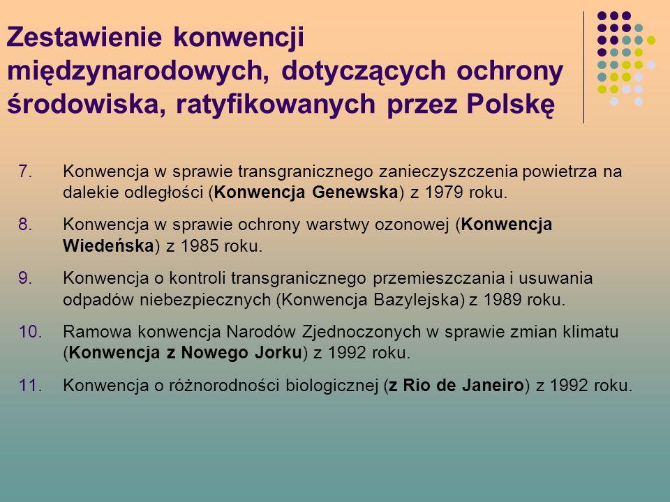 Zestawienie konwencji międzynarodowych, dotyczących ochrony środowiska, ratyfikowanych przez Polskę 7.Konwencja w sprawie transgranicznego zanieczyszczenia powietrza na dalekie odległości (Konwencja Genewska) z 1979 roku.