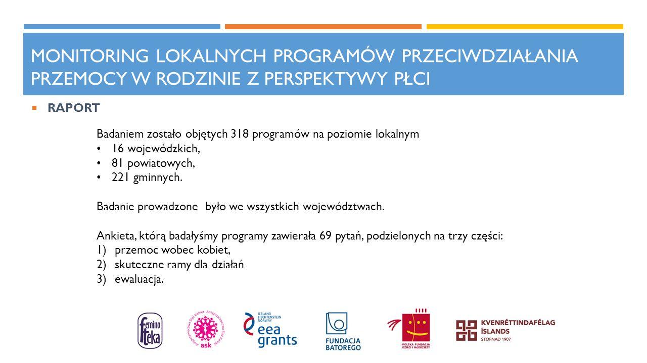 MONITORING LOKALNYCH PROGRAMÓW PRZECIWDZIAŁANIA PRZEMOCY W RODZINIE Z PERSPEKTYWY PŁCI Badaniem zostało objętych 318 programów na poziomie lokalnym 16