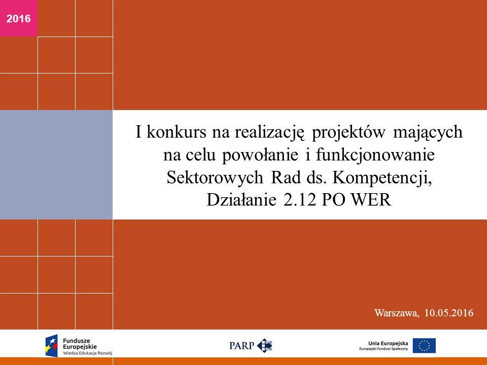 2016 Warszawa, 10.05.2016 I konkurs na realizację projektów mających na celu powołanie i funkcjonowanie Sektorowych Rad ds.