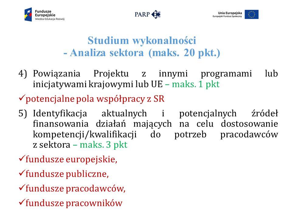 Studium wykonalności - Analiza sektora (maks.