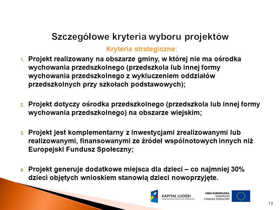 Kryteria strategiczne: 1. Projekt realizowany na obszarze gminy, w której nie ma ośrodka wychowania przedszkolnego (przedszkola lub innej formy wychow