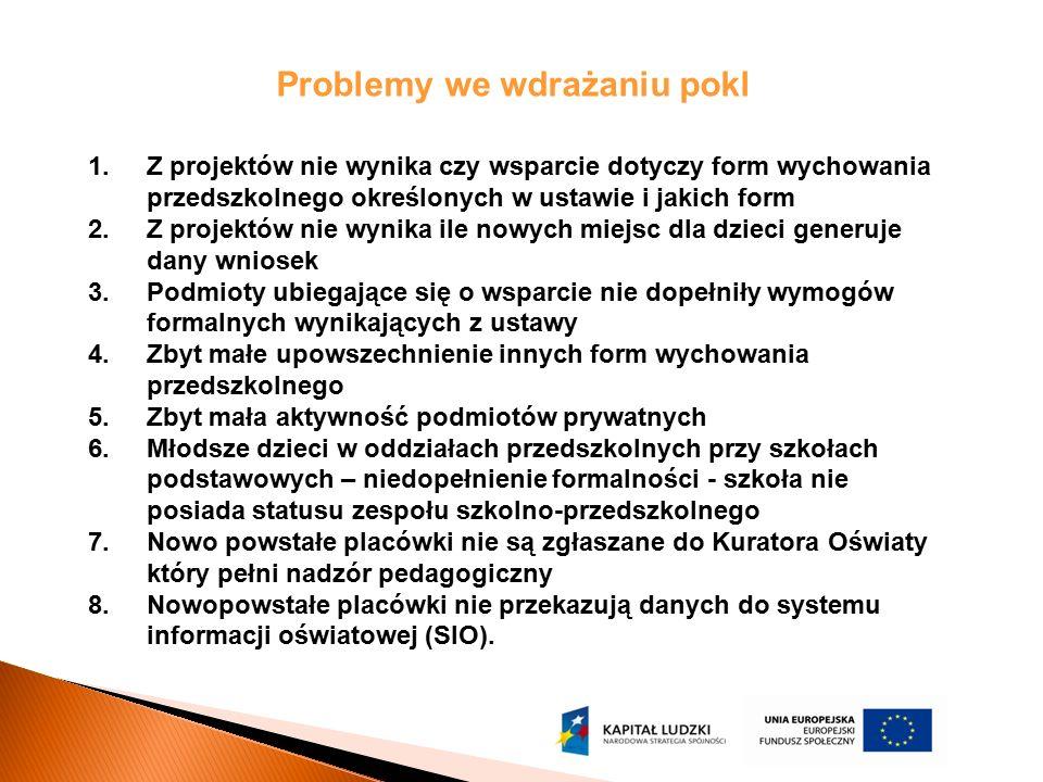 Problemy we wdrażaniu pokl 1.Z projektów nie wynika czy wsparcie dotyczy form wychowania przedszkolnego określonych w ustawie i jakich form 2.Z projek
