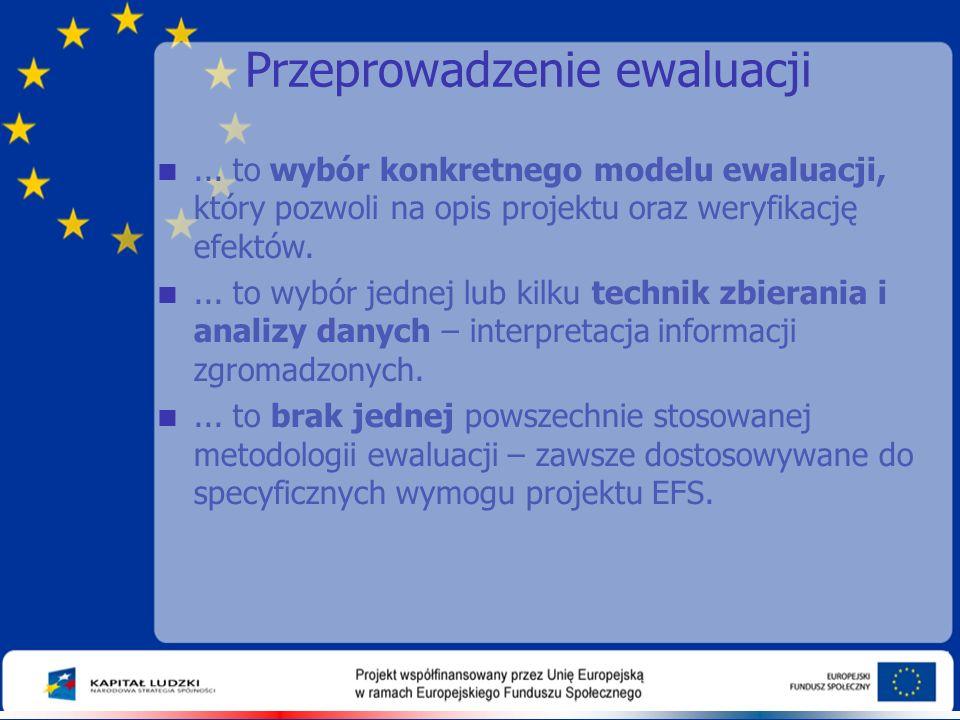 Przeprowadzenie ewaluacji ... to wybór konkretnego modelu ewaluacji, który pozwoli na opis projektu oraz weryfikację efektów. ... to wybór jednej lu