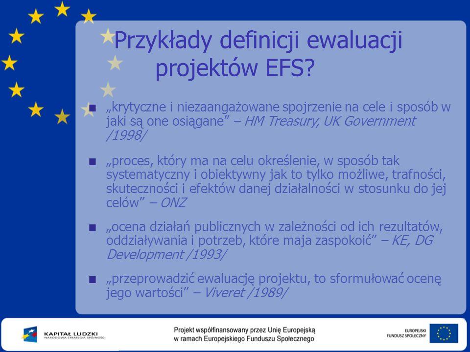 Przykłady definicji ewaluacji projektów EFS.
