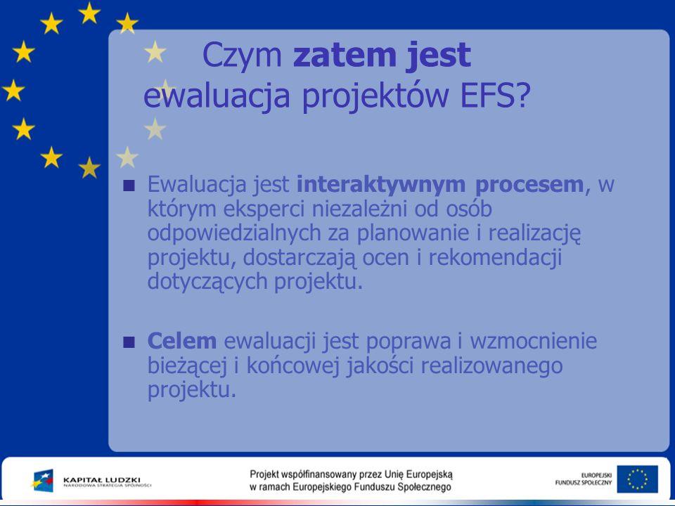 Czym zatem jest ewaluacja projektów EFS?  Ewaluacja jest interaktywnym procesem, w którym eksperci niezależni od osób odpowiedzialnych za planowanie