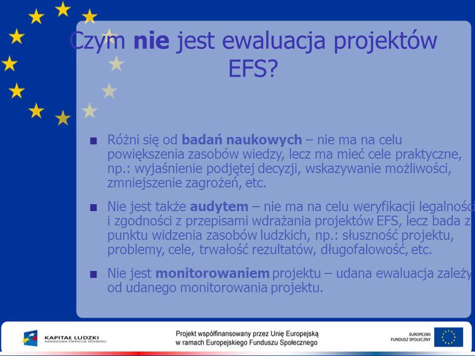 Czym nie jest ewaluacja projektów EFS?  Różni się od badań naukowych – nie ma na celu powiększenia zasobów wiedzy, lecz ma mieć cele praktyczne, np.: