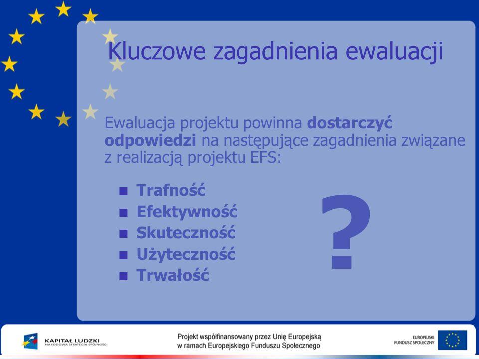 Kluczowe zagadnienia ewaluacji Ewaluacja projektu powinna dostarczyć odpowiedzi na następujące zagadnienia związane z realizacją projektu EFS:  Trafność  Efektywność  Skuteczność  Użyteczność  Trwałość