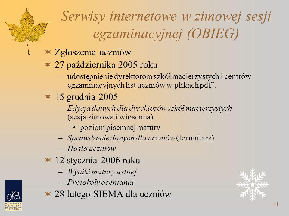 11 Serwisy internetowe w zimowej sesji egzaminacyjnej (OBIEG)  Zgłoszenie uczniów  27 października 2005 roku –udostępnienie dyrektorom szkół macierzystych i centrów egzaminacyjnych list uczniów w plikach pdf .