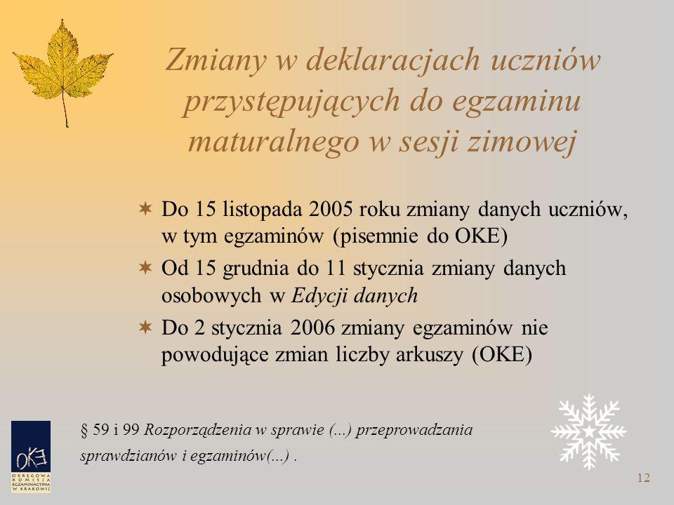 12 Zmiany w deklaracjach uczniów przystępujących do egzaminu maturalnego w sesji zimowej  Do 15 listopada 2005 roku zmiany danych uczniów, w tym egzaminów (pisemnie do OKE)  Od 15 grudnia do 11 stycznia zmiany danych osobowych w Edycji danych  Do 2 stycznia 2006 zmiany egzaminów nie powodujące zmian liczby arkuszy (OKE) § 59 i 99 Rozporządzenia w sprawie (...) przeprowadzania sprawdzianów i egzaminów(...).