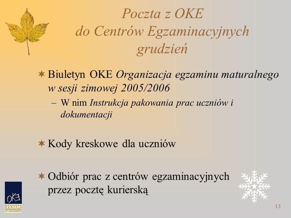 13 Poczta z OKE do Centrów Egzaminacyjnych grudzień  Biuletyn OKE Organizacja egzaminu maturalnego w sesji zimowej 2005/2006 –W nim Instrukcja pakowa