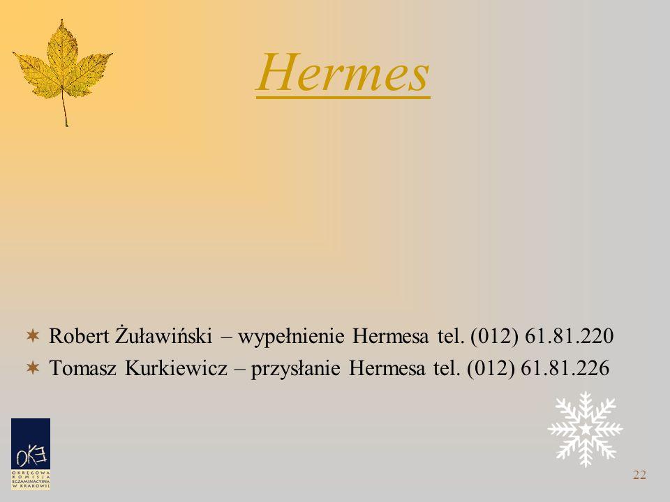 22 Hermes  Robert Żuławiński – wypełnienie Hermesa tel. (012) 61.81.220  Tomasz Kurkiewicz – przysłanie Hermesa tel. (012) 61.81.226