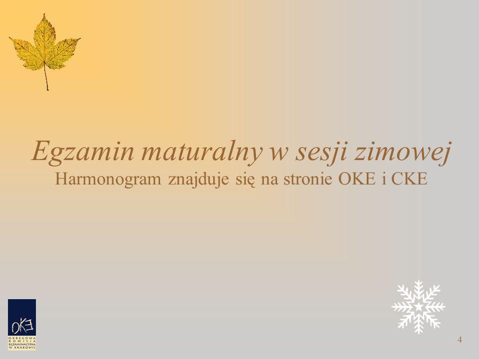 4 Egzamin maturalny w sesji zimowej Harmonogram znajduje się na stronie OKE i CKE