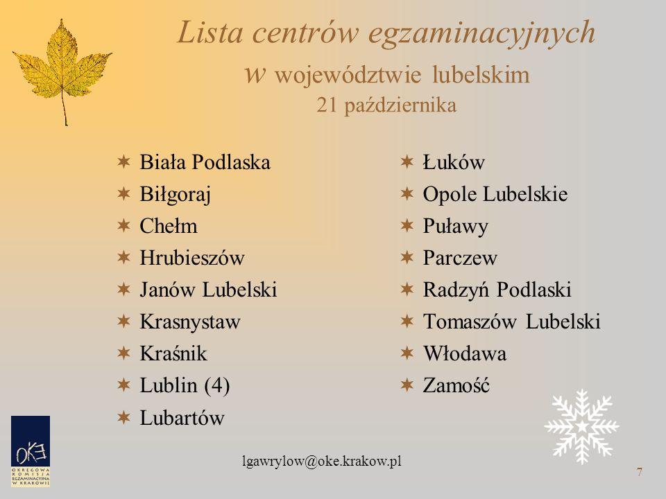 lgawrylow@oke.krakow.pl 7 Lista centrów egzaminacyjnych w województwie lubelskim 21 października  Biała Podlaska  Biłgoraj  Chełm  Hrubieszów  Ja