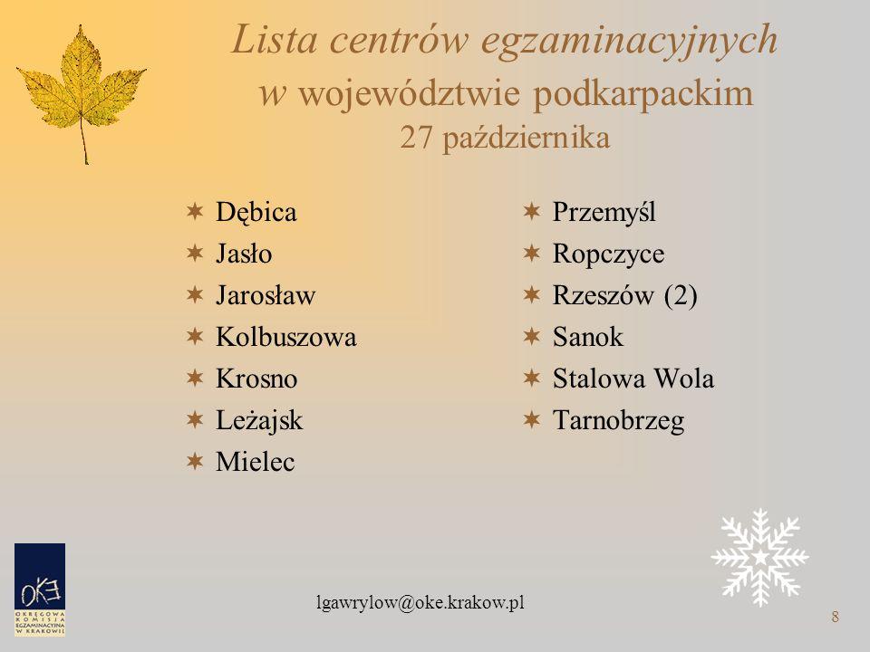 lgawrylow@oke.krakow.pl 8 Lista centrów egzaminacyjnych w województwie podkarpackim 27 października  Dębica  Jasło  Jarosław  Kolbuszowa  Krosno  Leżajsk  Mielec  Przemyśl  Ropczyce  Rzeszów (2)  Sanok  Stalowa Wola  Tarnobrzeg