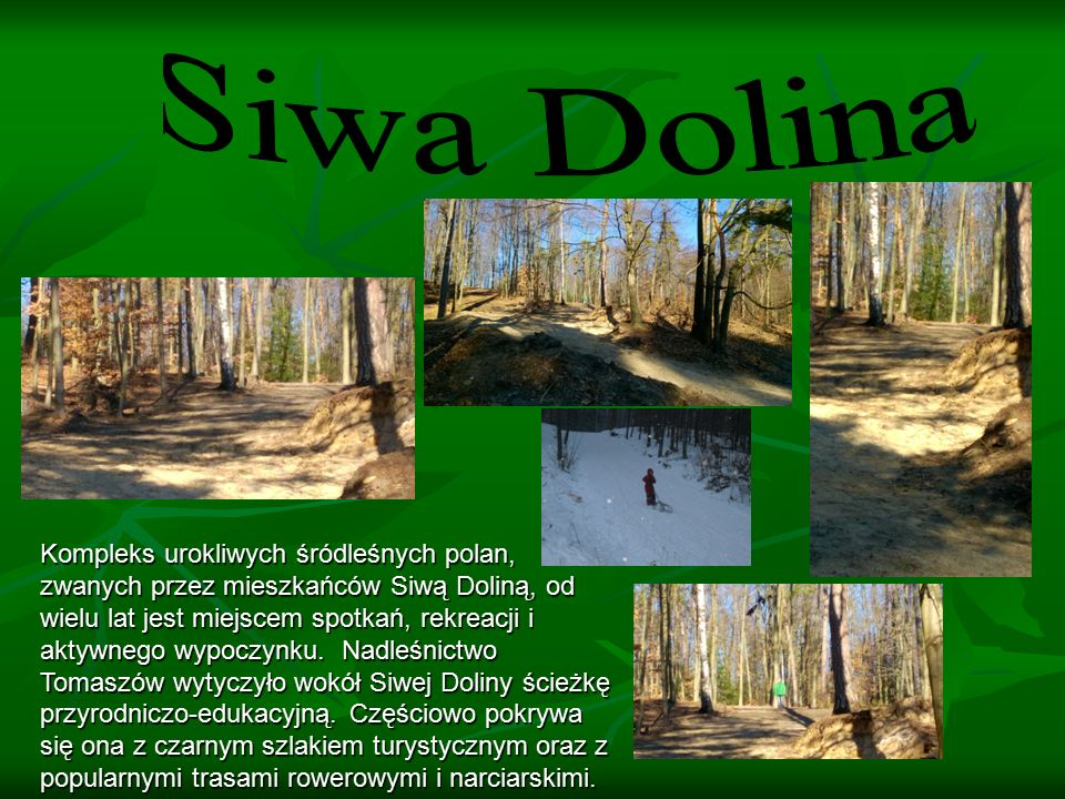 Kompleks urokliwych śródleśnych polan, zwanych przez mieszkańców Siwą Doliną, od wielu lat jest miejscem spotkań, rekreacji i aktywnego wypoczynku.