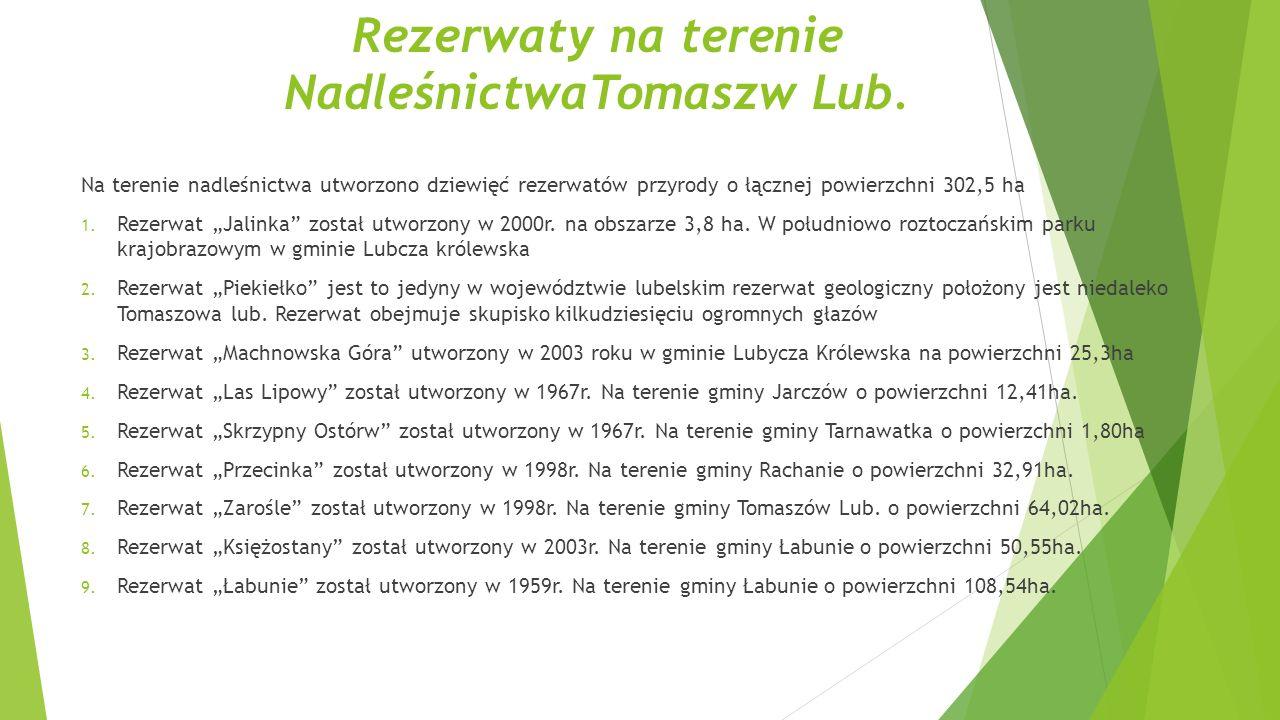 Rezerwaty na terenie NadleśnictwaTomaszw Lub.