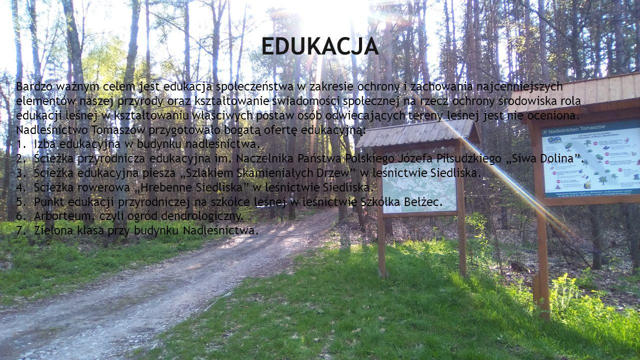EDUKACJA Bardzo ważnym celem jest edukacja społeczeństwa w zakresie ochrony i zachowania najcenniejszych elementów naszej przyrody oraz kształtowanie świadomości społecznej na rzecz ochrony środowiska rola edukacji leśnej w kształtowaniu właściwych postaw osób odwiecających tereny leśnej jest nie oceniona.