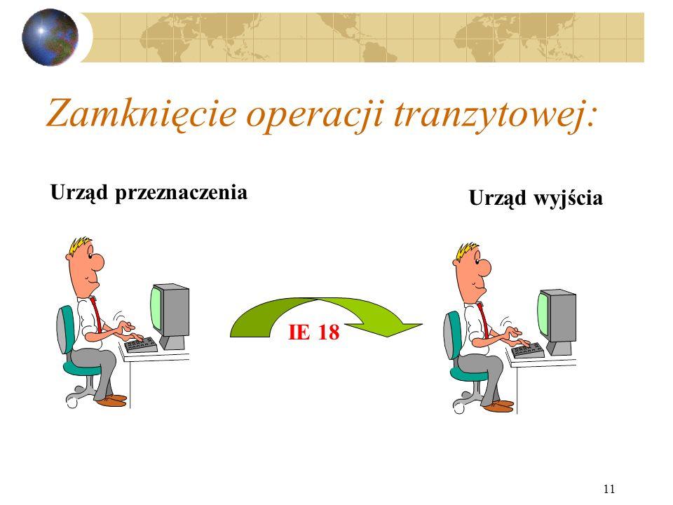 11 Zamknięcie operacji tranzytowej: Urząd przeznaczenia IE 18 Urząd wyjścia