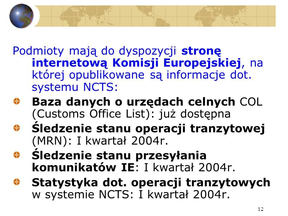 12 Podmioty mają do dyspozycji stronę internetową Komisji Europejskiej, na której opublikowane są informacje dot.