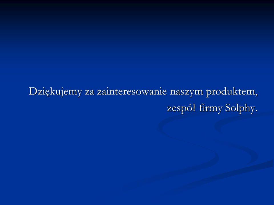Dziękujemy za zainteresowanie naszym produktem, zespół firmy Solphy.