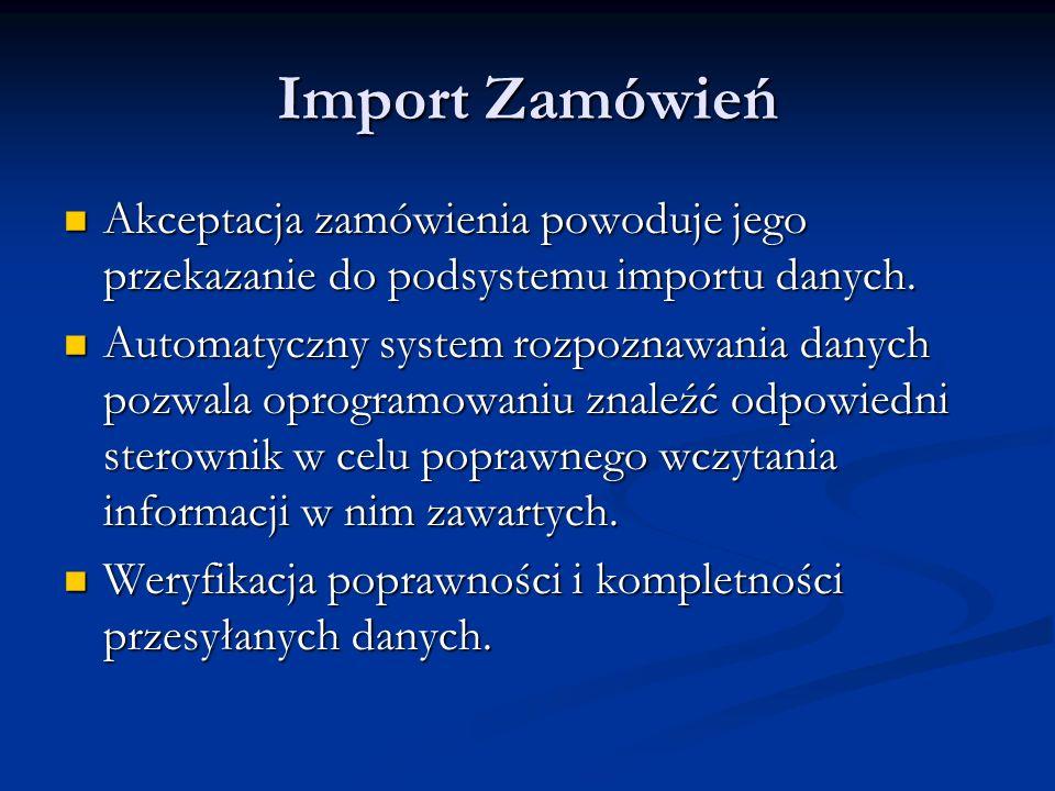 Import Zamówień Akceptacja zamówienia powoduje jego przekazanie do podsystemu importu danych. Akceptacja zamówienia powoduje jego przekazanie do podsy
