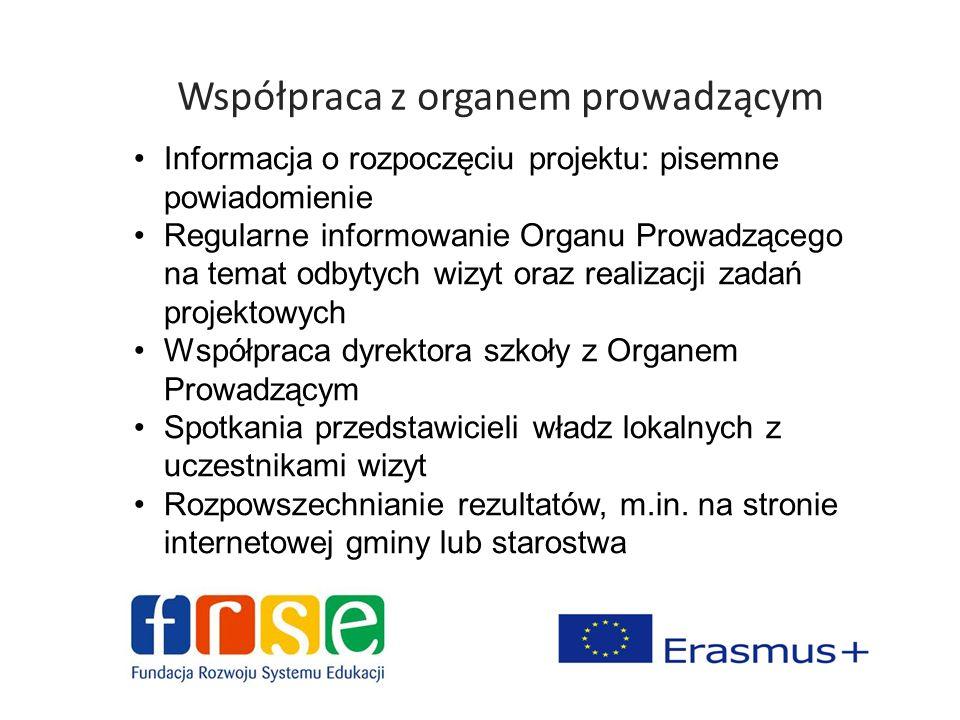 Współpraca z organem prowadzącym Informacja o rozpoczęciu projektu: pisemne powiadomienie Regularne informowanie Organu Prowadzącego na temat odbytych