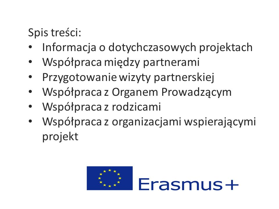 Spis treści: Informacja o dotychczasowych projektach Współpraca między partnerami Przygotowanie wizyty partnerskiej Współpraca z Organem Prowadzącym W