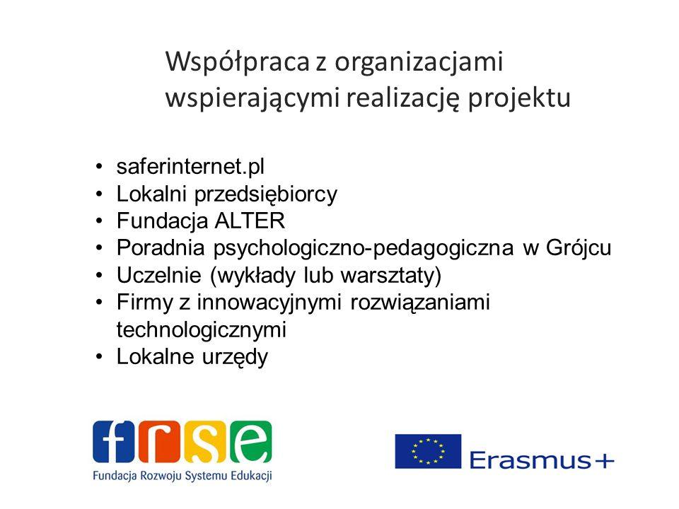 Współpraca z organizacjami wspierającymi realizację projektu saferinternet.pl Lokalni przedsiębiorcy Fundacja ALTER Poradnia psychologiczno-pedagogicz
