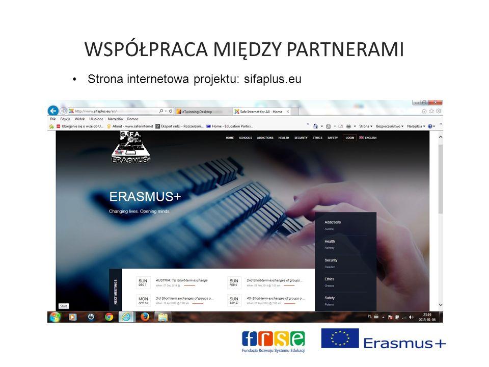 WSPÓŁPRACA MIĘDZY PARTNERAMI Strona internetowa projektu: sifaplus.eu
