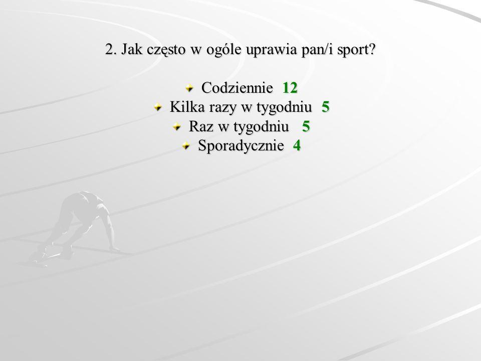 2. Jak często w ogóle uprawia pan/i sport? Codziennie 12 Kilka razy w tygodniu 5 Raz w tygodniu 5 Sporadycznie 4