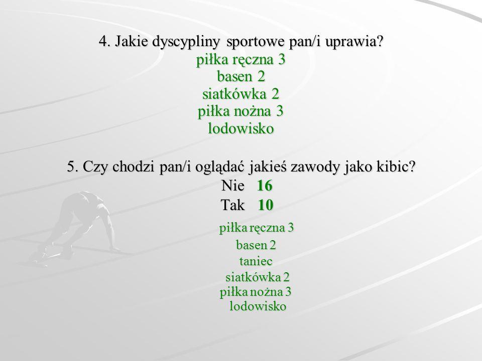 4. Jakie dyscypliny sportowe pan/i uprawia? piłka ręczna 3 basen 2 siatkówka 2 piłka nożna 3 lodowisko 5. Czy chodzi pan/i oglądać jakieś zawody jako