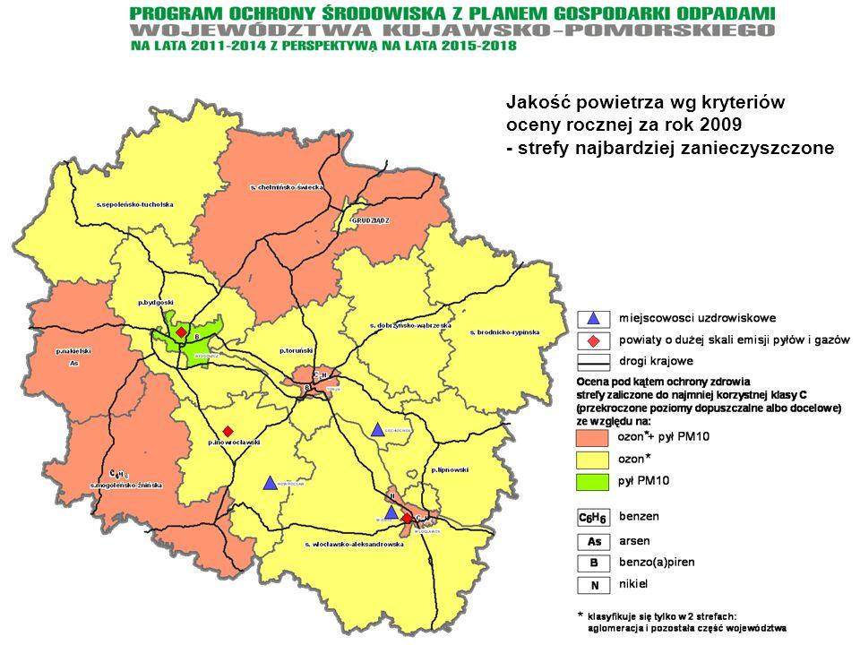 Jakość powietrza wg kryteriów oceny rocznej za rok 2009 - strefy najbardziej zanieczyszczone