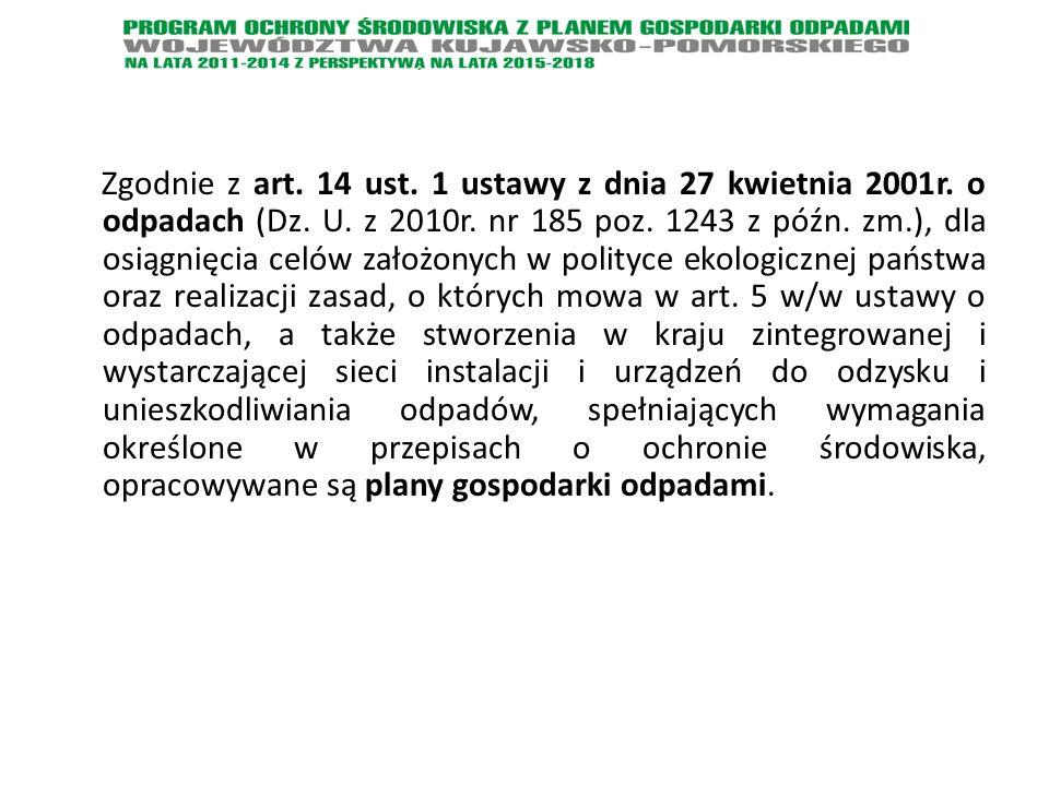 Zgodnie z art. 14 ust. 1 ustawy z dnia 27 kwietnia 2001r. o odpadach (Dz. U. z 2010r. nr 185 poz. 1243 z późn. zm.), dla osiągnięcia celów założonych