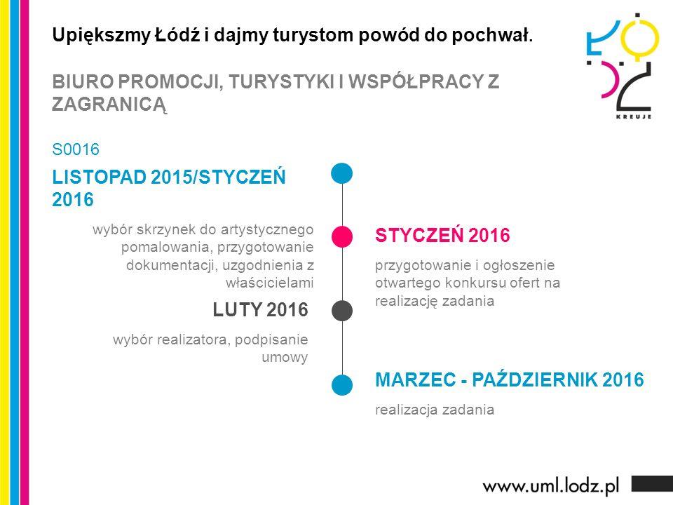 LISTOPAD 2015/STYCZEŃ 2016 wybór skrzynek do artystycznego pomalowania, przygotowanie dokumentacji, uzgodnienia z właścicielami STYCZEŃ 2016 przygotowanie i ogłoszenie otwartego konkursu ofert na realizację zadania LUTY 2016 wybór realizatora, podpisanie umowy MARZEC - PAŹDZIERNIK 2016 realizacja zadania Upiększmy Łódź i dajmy turystom powód do pochwał.