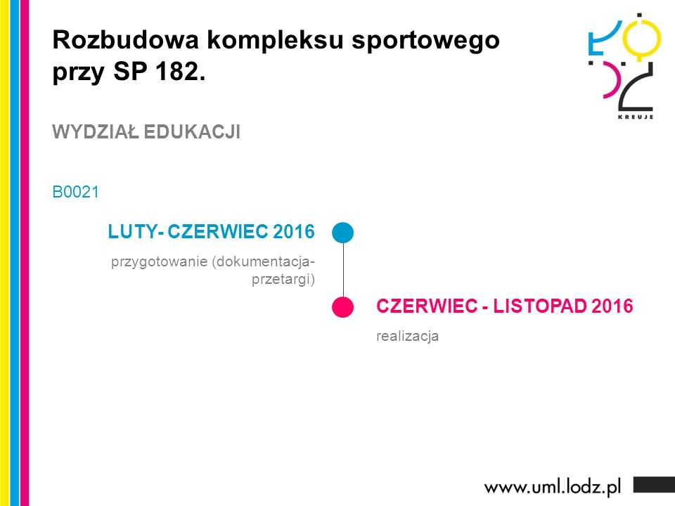 LUTY- CZERWIEC 2016 przygotowanie (dokumentacja- przetargi) CZERWIEC - LISTOPAD 2016 realizacja Rozbudowa kompleksu sportowego przy SP 182.