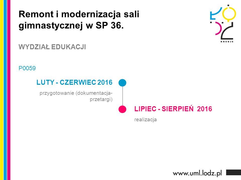 LUTY - CZERWIEC 2016 przygotowanie (dokumentacja- przetargi) LIPIEC - SIERPIEŃ 2016 realizacja Remont i modernizacja sali gimnastycznej w SP 36.