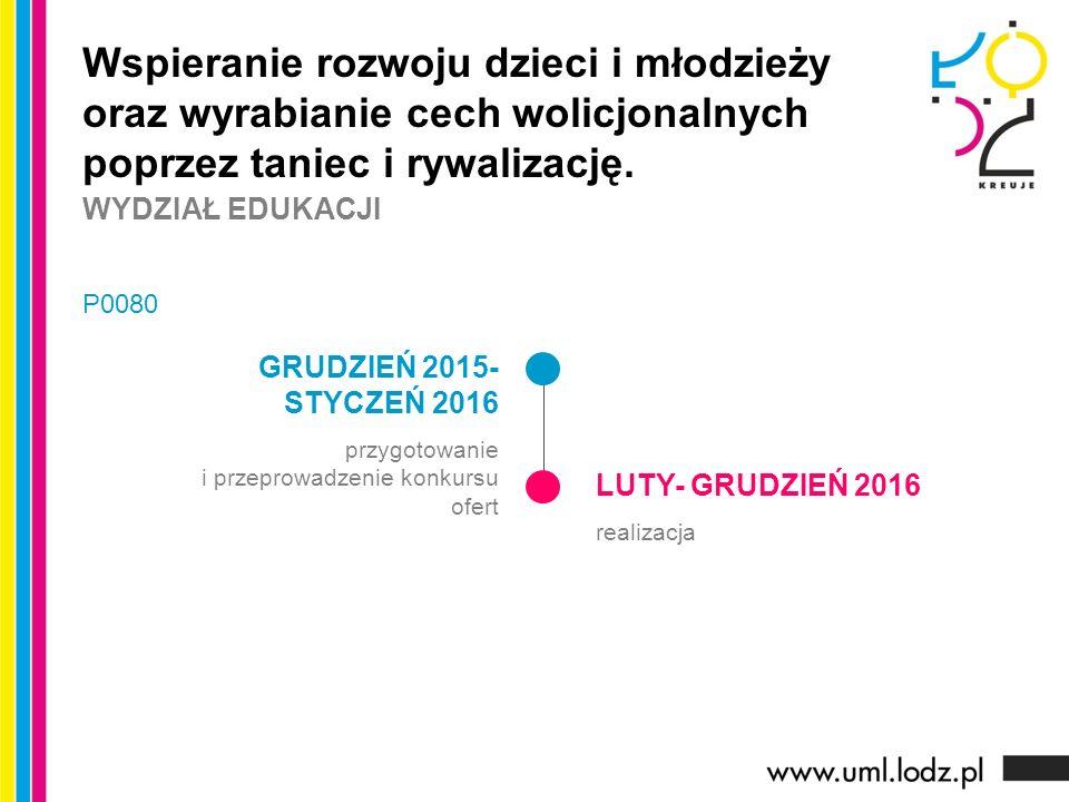 GRUDZIEŃ 2015- STYCZEŃ 2016 przygotowanie i przeprowadzenie konkursu ofert LUTY- GRUDZIEŃ 2016 realizacja Wspieranie rozwoju dzieci i młodzieży oraz wyrabianie cech wolicjonalnych poprzez taniec i rywalizację.
