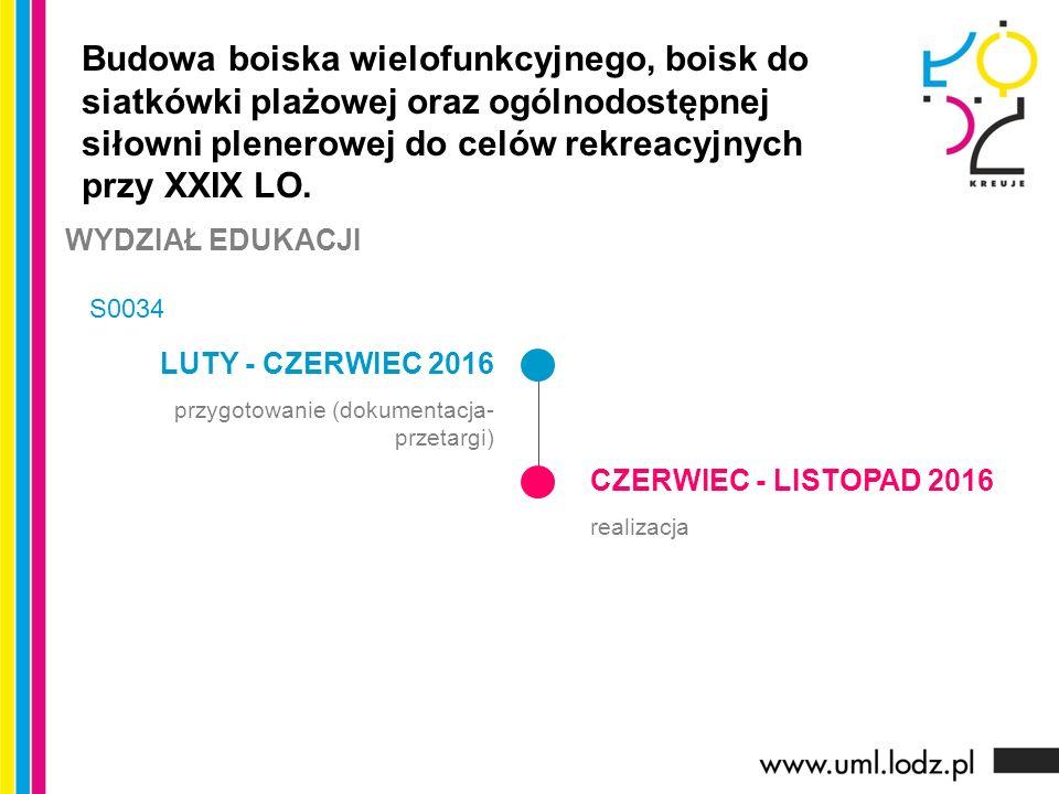 LUTY - CZERWIEC 2016 przygotowanie (dokumentacja- przetargi) CZERWIEC - LISTOPAD 2016 realizacja Budowa boiska wielofunkcyjnego, boisk do siatkówki pl