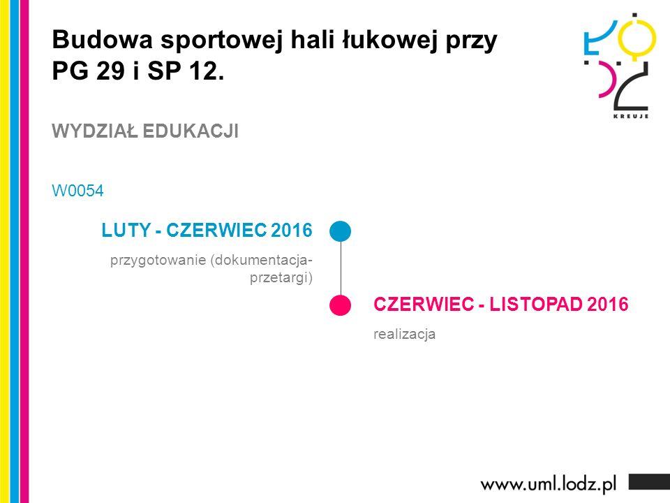 LUTY - CZERWIEC 2016 przygotowanie (dokumentacja- przetargi) CZERWIEC - LISTOPAD 2016 realizacja Budowa sportowej hali łukowej przy PG 29 i SP 12.