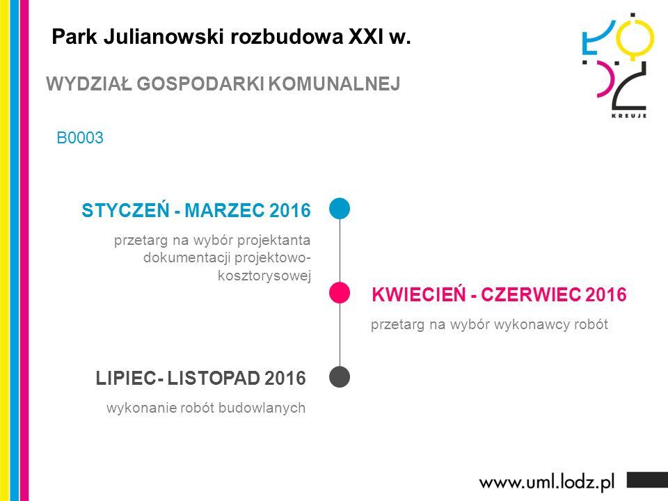 STYCZEŃ - MARZEC 2016 przetarg na wybór projektanta dokumentacji projektowo- kosztorysowej KWIECIEŃ - CZERWIEC 2016 przetarg na wybór wykonawcy robót LIPIEC- LISTOPAD 2016 wykonanie robót budowlanych Park Julianowski rozbudowa XXI w.