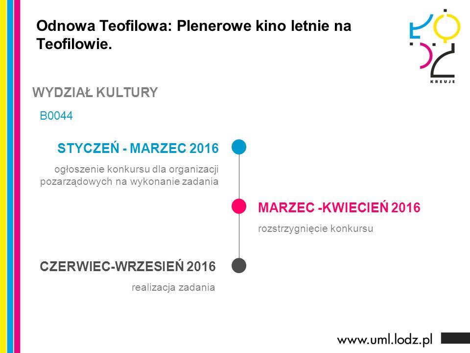 STYCZEŃ - MARZEC 2016 ogłoszenie konkursu dla organizacji pozarządowych na wykonanie zadania MARZEC -KWIECIEŃ 2016 rozstrzygnięcie konkursu CZERWIEC-WRZESIEŃ 2016 realizacja zadania Odnowa Teofilowa: Plenerowe kino letnie na Teofilowie.