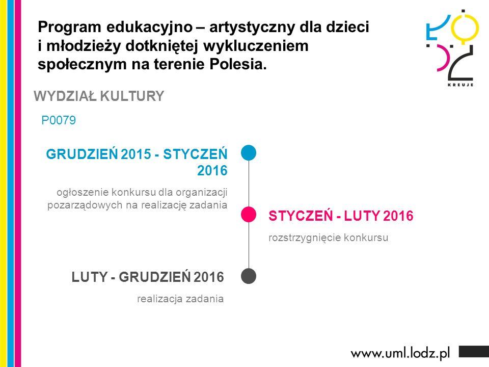 GRUDZIEŃ 2015 - STYCZEŃ 2016 ogłoszenie konkursu dla organizacji pozarządowych na realizację zadania STYCZEŃ - LUTY 2016 rozstrzygnięcie konkursu LUTY - GRUDZIEŃ 2016 realizacja zadania Program edukacyjno – artystyczny dla dzieci i młodzieży dotkniętej wykluczeniem społecznym na terenie Polesia.