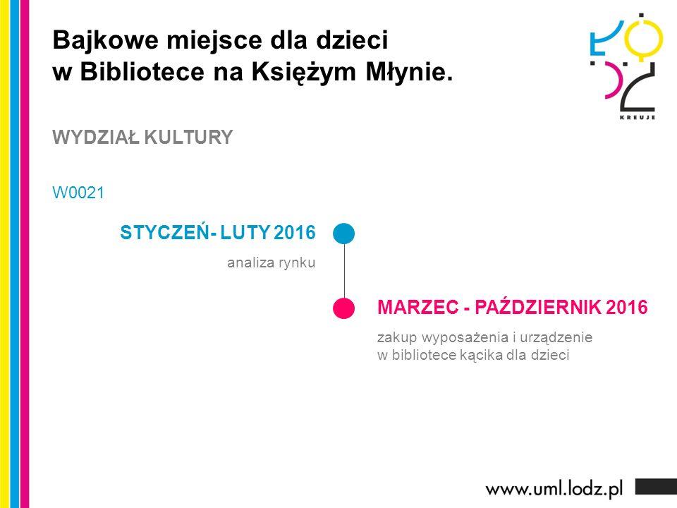 STYCZEŃ- LUTY 2016 analiza rynku MARZEC - PAŹDZIERNIK 2016 zakup wyposażenia i urządzenie w bibliotece kącika dla dzieci Bajkowe miejsce dla dzieci w Bibliotece na Księżym Młynie.