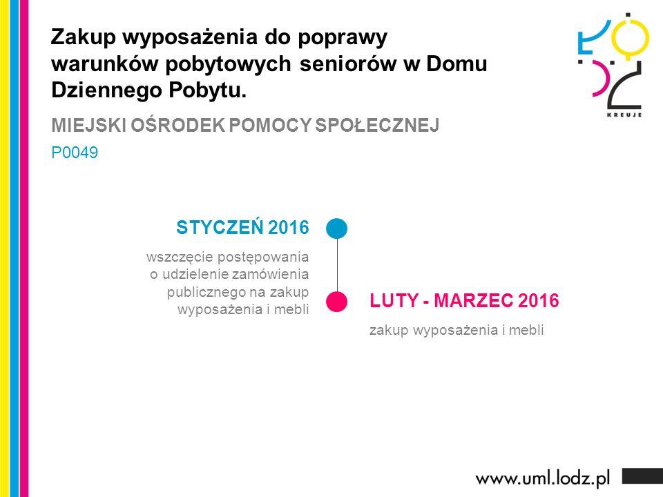 LISTOPAD 2015 - LUTY 2016 prace koncepcyjne, przygotowanie procedury przetargowej MARZEC- KWIECIEŃ 2016 ogłoszenie przetargu, wyłonienie wykonawcy KWIECIEŃ - LISTOPAD 2016 realizacja zadania Bezpieczne Bałuty – stworzenie monitoringu miejskiego na osiedlu Bałuty - Centrum.