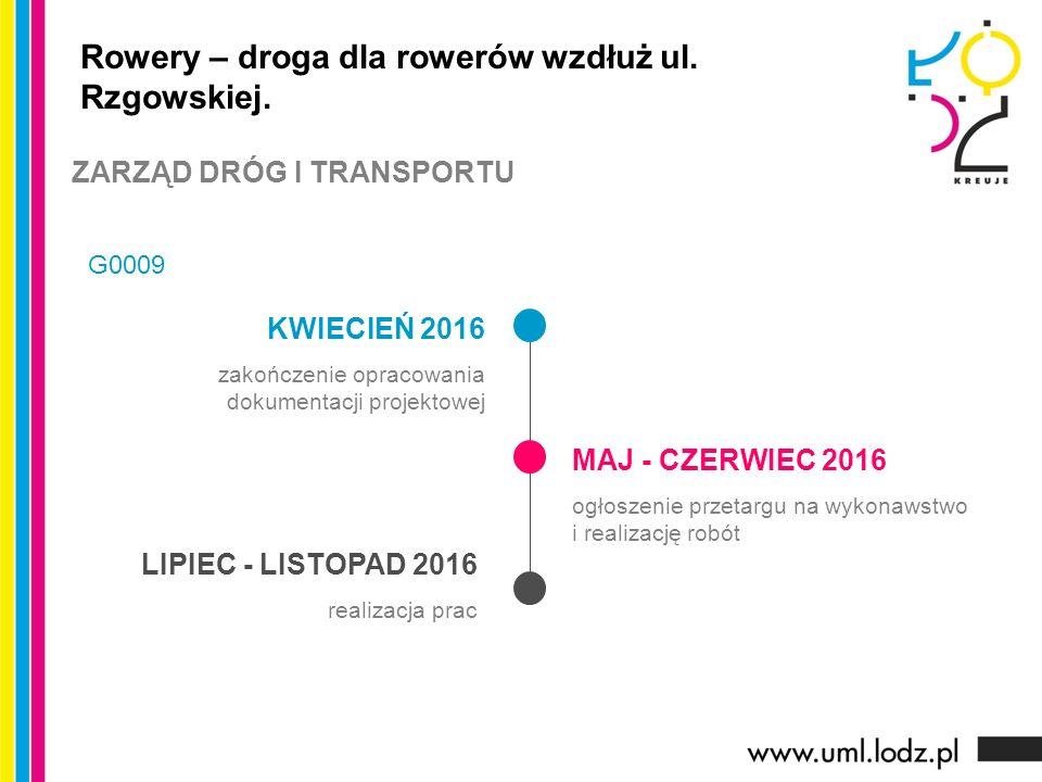 KWIECIEŃ 2016 zakończenie opracowania dokumentacji projektowej MAJ - CZERWIEC 2016 ogłoszenie przetargu na wykonawstwo i realizację robót LIPIEC - LISTOPAD 2016 realizacja prac Rowery – droga dla rowerów wzdłuż ul.