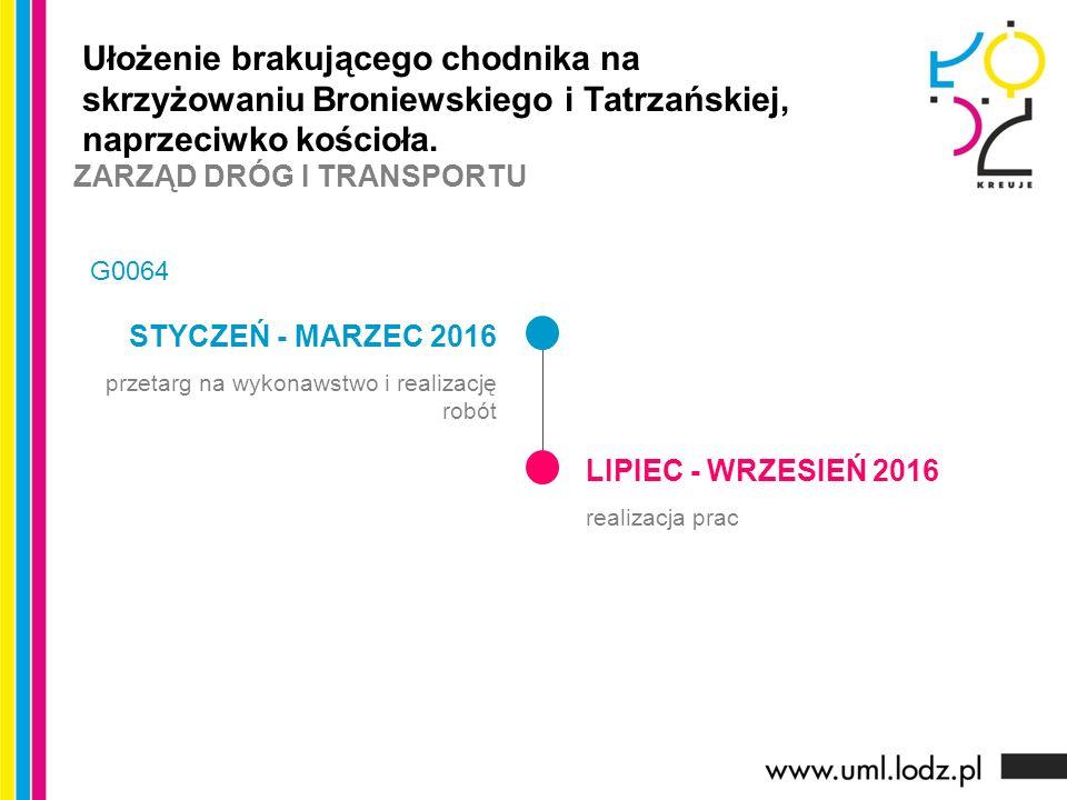 STYCZEŃ - MARZEC 2016 przetarg na wykonawstwo i realizację robót LIPIEC - WRZESIEŃ 2016 realizacja prac Ułożenie brakującego chodnika na skrzyżowaniu Broniewskiego i Tatrzańskiej, naprzeciwko kościoła.