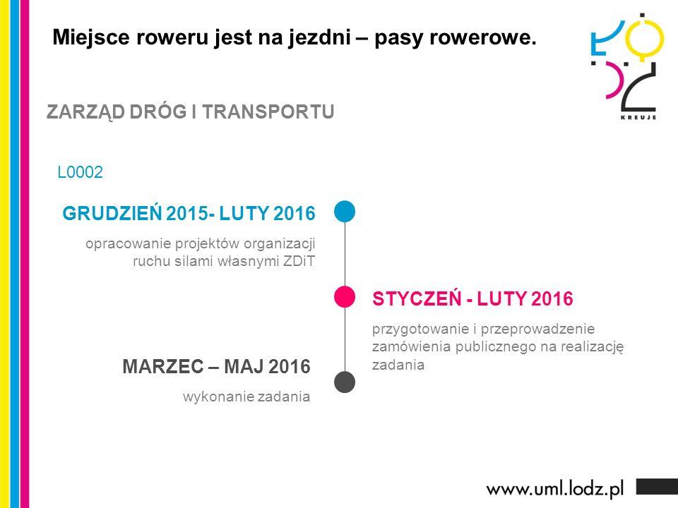 GRUDZIEŃ 2015- LUTY 2016 opracowanie projektów organizacji ruchu silami własnymi ZDiT STYCZEŃ - LUTY 2016 przygotowanie i przeprowadzenie zamówienia publicznego na realizację zadania MARZEC – MAJ 2016 wykonanie zadania Miejsce roweru jest na jezdni – pasy rowerowe.